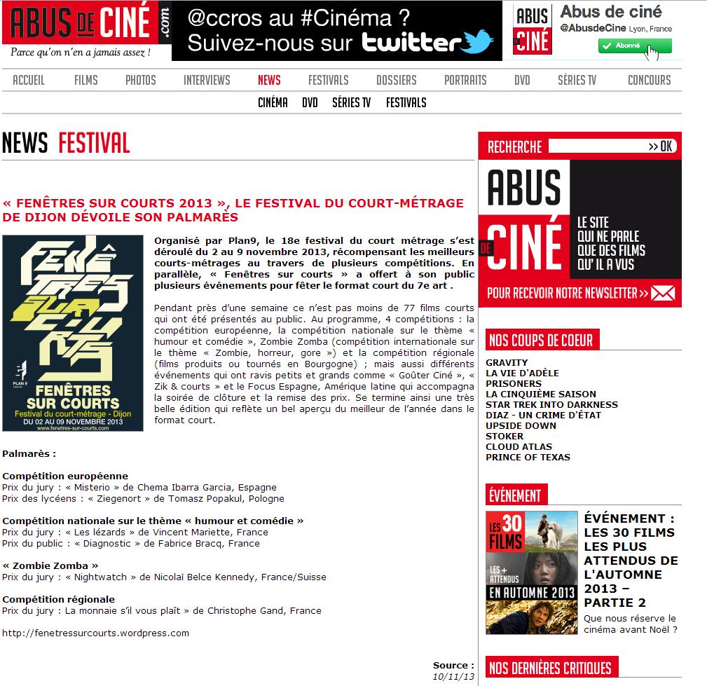 Abus de Ciné, Fenêtres sur Courts 2013