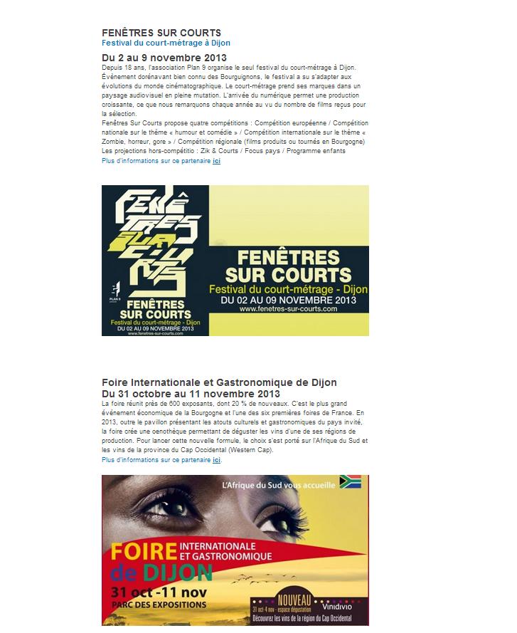 France3 Bourgogne, Fenêtres sur Courts 2013